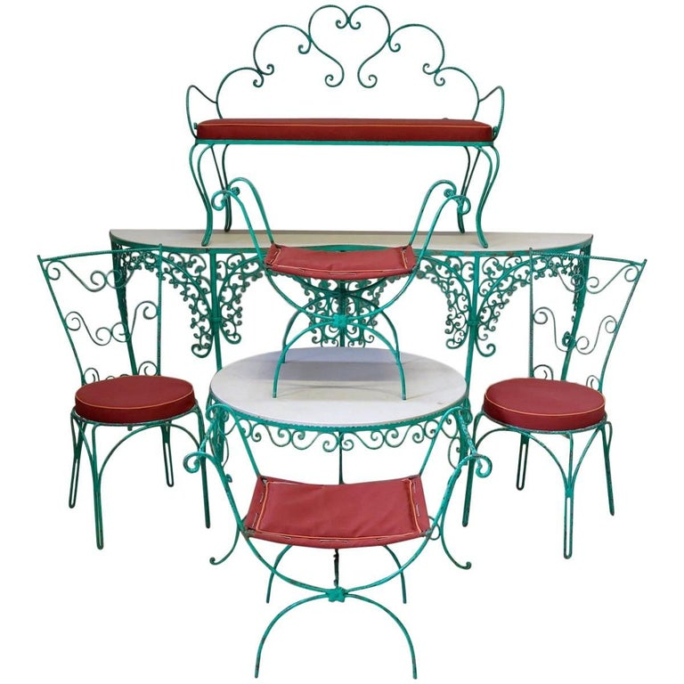 French 1950s Iron Fretwork Patio Set For
