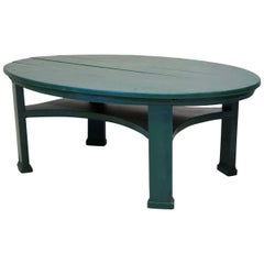 Large Oval Painted Pinewood Coffee Table