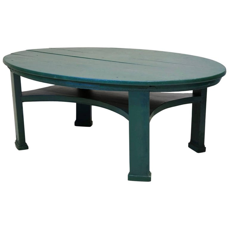 large coffee table large oval painted pinewood coffee table for at 1stdibs 30320