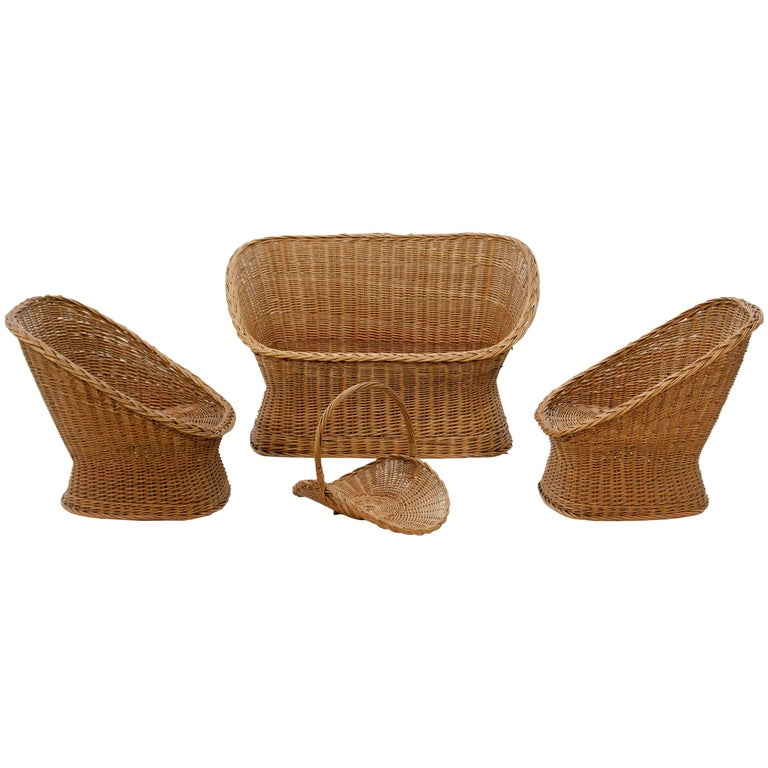 Two 1960s Rattan Lounge Seats and Matching Loveseat, Gebroeders Jonkers