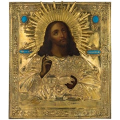 19th Century Imperial Russian Silver-Gilt Jesus Pancreator Icon, Moscow, 1838