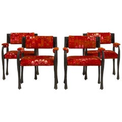 Set of Four Paul Evans Sculpted Bronze Armchairs, Late 1960s