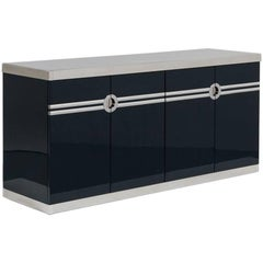 Basalt Lacquered Four Door Cabinet by Pierre Cardin 1980s