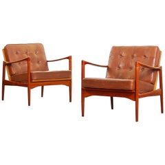 Beautiful Pair of Lounge Chairs by Ib Kofod Larsen for OPE Sweden
