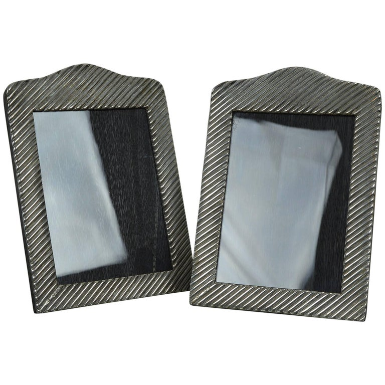 Pair of Antique Silver Photograph Frames in Modernist Style, English 1890