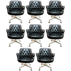 Set of Eight Jack Cartwright Swivel Chairs with Tufted Backs and Seats