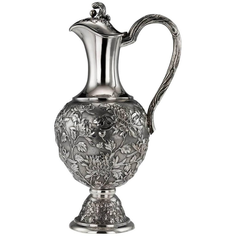 Antique 19th Century Chinese Solid Silver Wine Ewer Luen Wo Shanghai, circa 1890