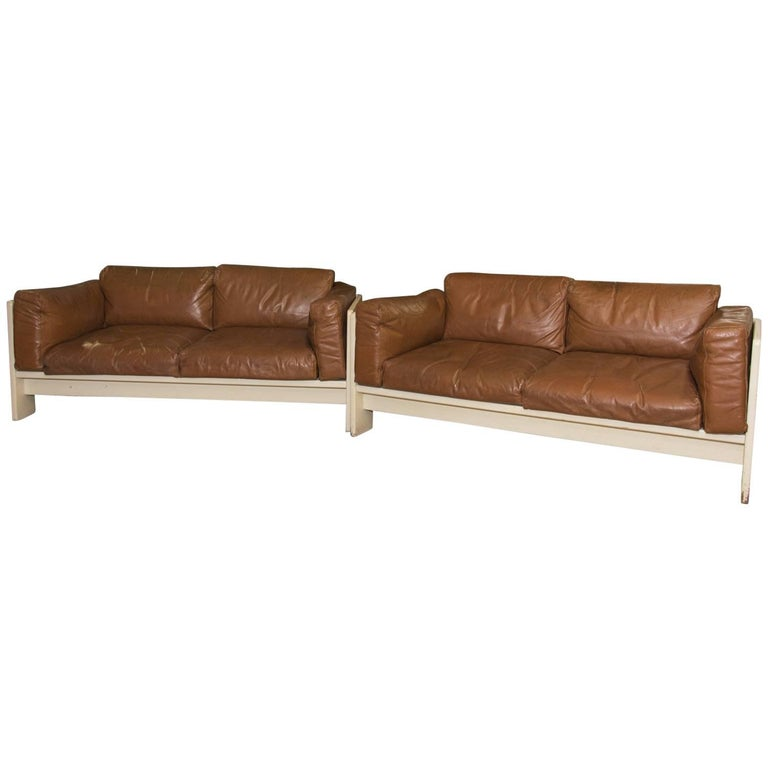 Pair of Bastiano Leather Sofas by Afra & Tobia Scarpa, 1970s For Sale