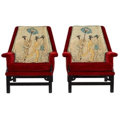 Pair of James Mont Style Geisha Armchairs, 1950s