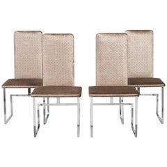 Set of Four Italian Nickel Framed Dining Chairs, 1980s