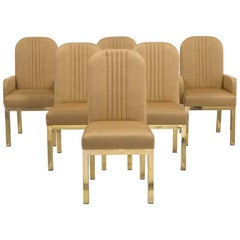 Set of Six Mastercraft Upholstered Dining Chairs, 1970s