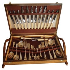 1920 set of 53 pieces cutlery in a walnut box by McPherson Brothers Glasgow