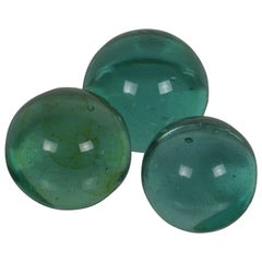 Group of Three Vintage Spherical Green Glass Paperweights