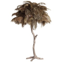 Bronze and Moss Green Feathered table Lamp