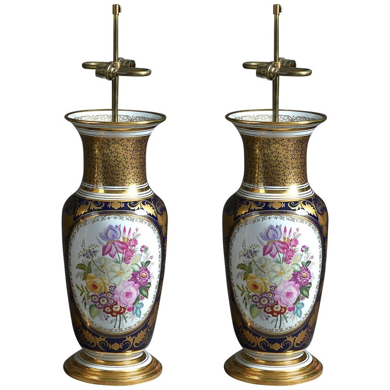 Pair of Large Paris Porcelain Vases with Floral Panels Mounted as Lamps