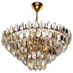 Luxurious Bakalowits Chandelier, Gilt Brass and Hand-Cut Crystal Glass