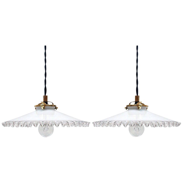 Mid-Century French Opaline Glass Pendant Lamps, 1950s, Set of Two