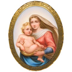 Antique Meissen Porcelain Plaque of the Sistine Madonna after Raphael