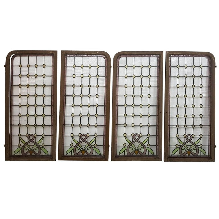 Four large stained glass art nouveau windows netherlands for 1900 stained glass window
