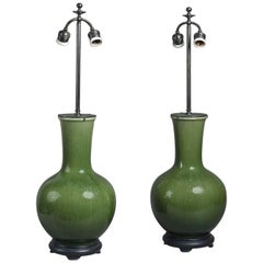 Pair of Large 19th Century Green Craquellure Chinese Vases Mounted as Lamps