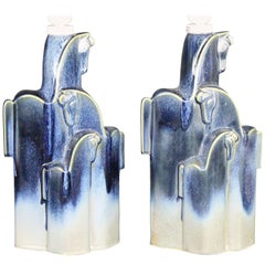 Pampas Wild Horses Ceramic Table Lamps by Christina Praestgaard, Swedish 1970s