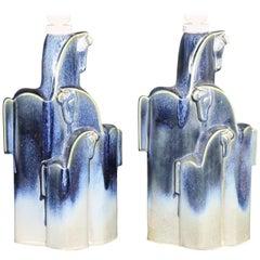 Pampas Wild Horses Ceramic Table Lamps by Christina Praestgaard, Swedish 1970s