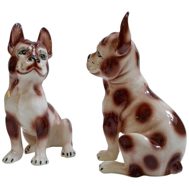 Pair of Smiling Ceramic Bulldog Sculptures, 1960s