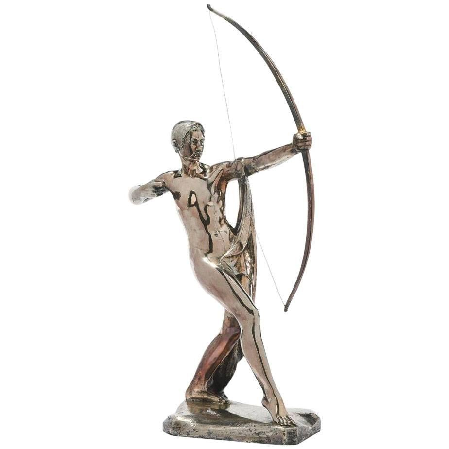 Paul Silvestre Silvered Bronze Model of Diana for Susse Freres