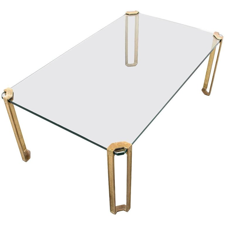 Peter Ghyczy Brass and Glass Table, 1970s Minimalistic Modern Design