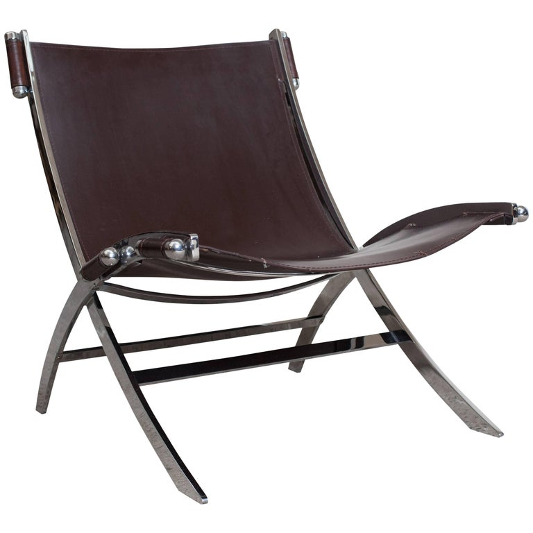 Lounge Chair by Paul Tuttle in Chrome and Leather