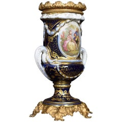French Sevres Style Twin Handled Handle Painted Lamp Base
