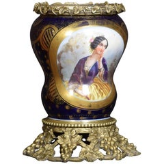 Large Antique French Sevres Style Ormolu-Mounted and Painted Lamp Base