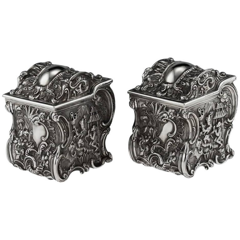 Antique Georgian Solid Silver Chinoiserie Tea Caddies, J & J Angell, circa 1834