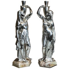 Pair of Antique Silvered Bronze Egyptian Figures on Marble Bases
