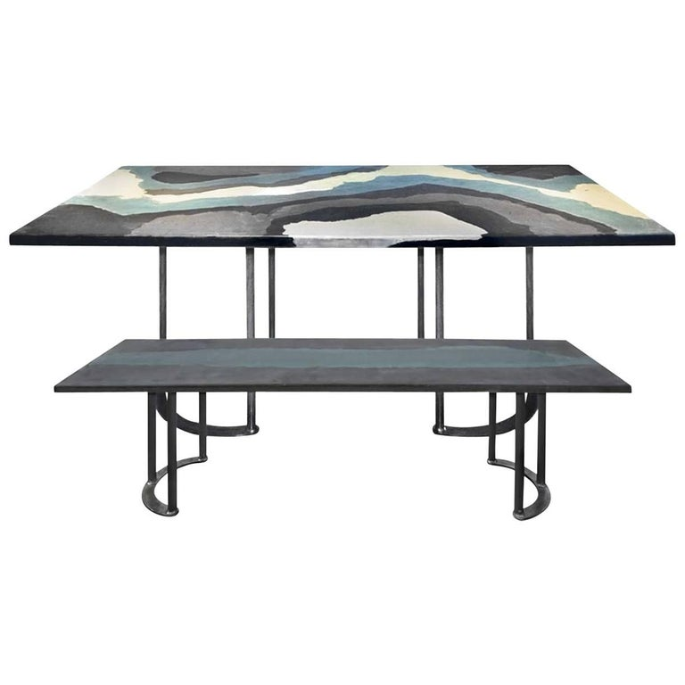 Blue Wave  Modular Table and Bench For Sale