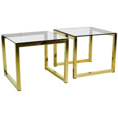 Pair of Mid-Century Hollywood Regency Cubic Side Tables with Smokey Glass Top