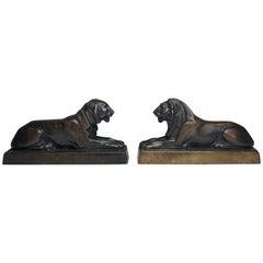 Bronze Stylized Pair of Lions, circa 1920