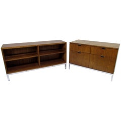 Florence Knoll Teak Executive Credenza and Bookcase