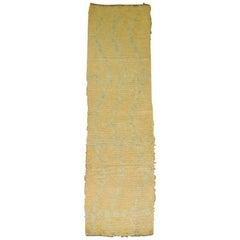 Gold Aqua Blue 20th century Shag Wool Moroccan 10 Foot Runner