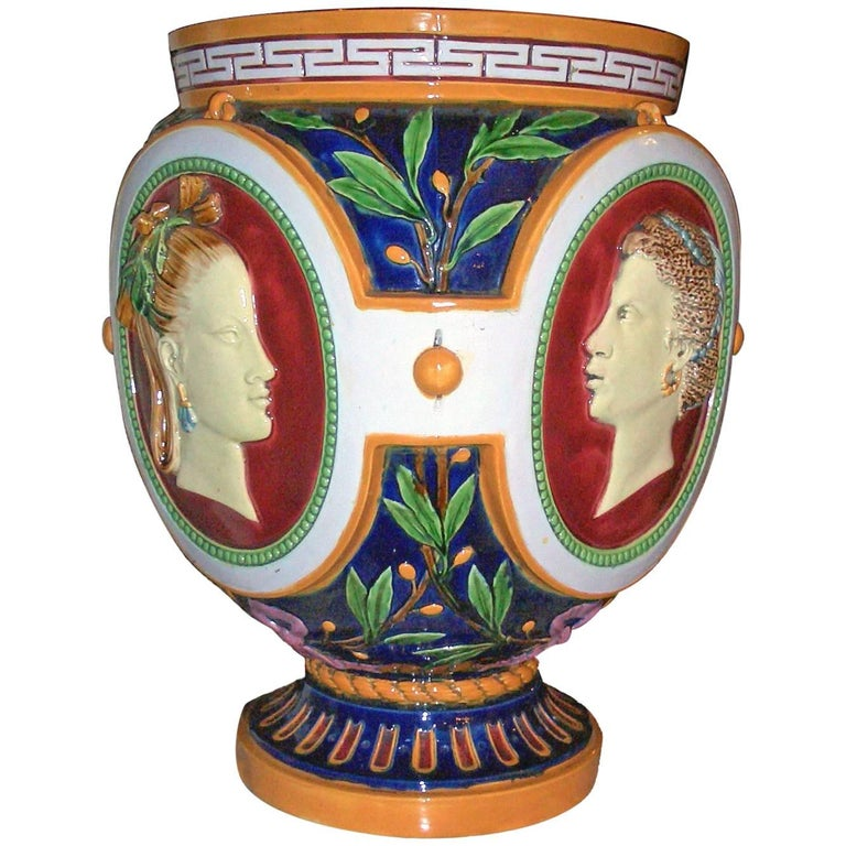 Victorian Antique Majolica Jardiniere of the Four Seasons by Minton For Sale