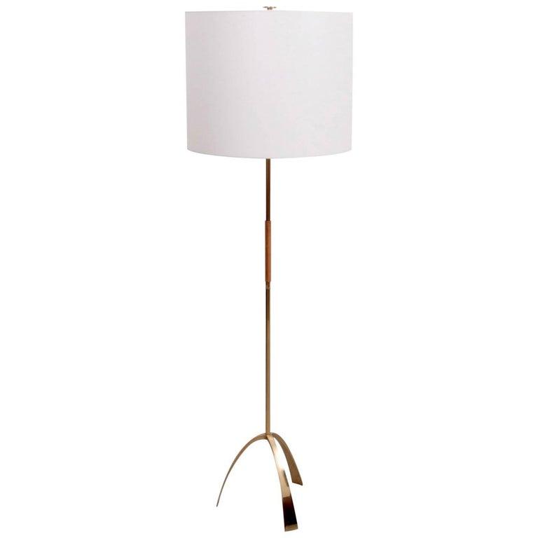 Rare Kalmar 2105 Silone Floor Lamp in Brass and Leather, Austria, 1950s