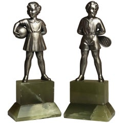 Pair of Early 20th Century Austrian Cold Painted Bronze Figures, Tennis Player