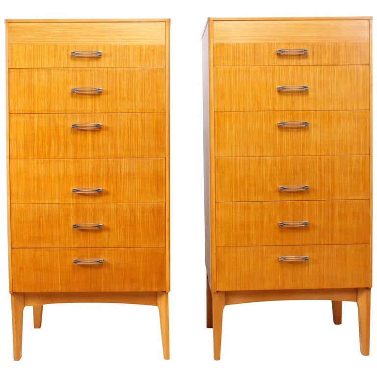 Pair of Midcentury Tall Chest of Drawers