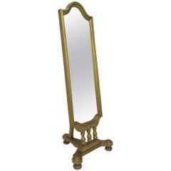 Hollywood Regency Style Giltwood Cheval Floor Mirror, circa 1960s