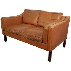 1970s Tan Brown Leather Mogensen Style Two-Seat Sofa