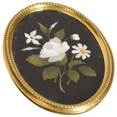 Brass Framed Oval Pietra Dura Plaque