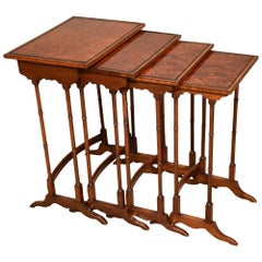 Good Nest of Four Late 19th Century Thuya Tables