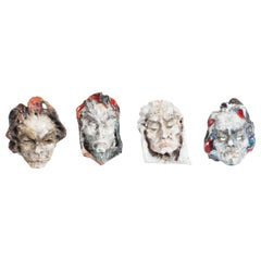 Set of Four Ceramic Masks, Fontana, Italy