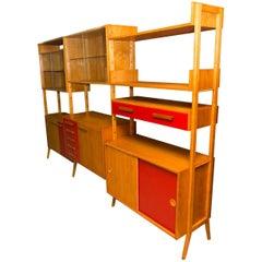 Mid-Century Modern Beech Unit Shelf System by Frantisek Jirák for Tatra Nábytok