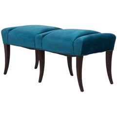 Pair of Velvet Upholstered Benches in the Manner of Parzinger